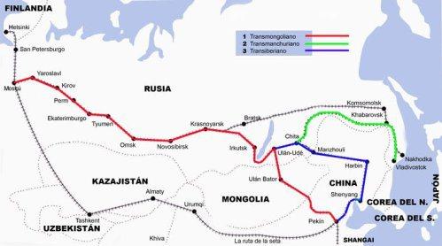 Mapa del recorrido del Transiberiano